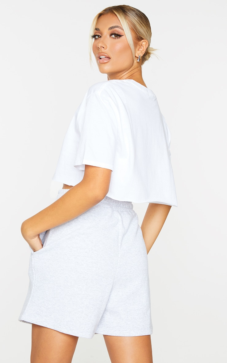 White Citrus Print Cropped T Shirt 2