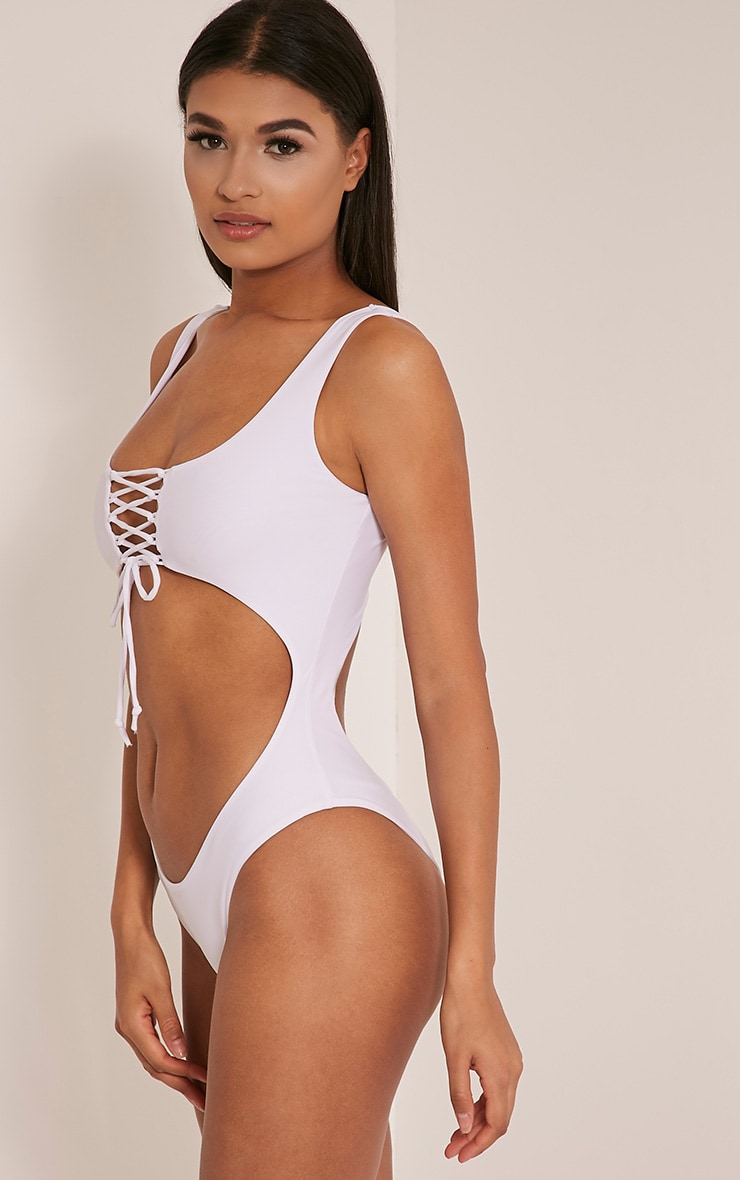 Talitha White Extreme Cut Out Swimsuit 4