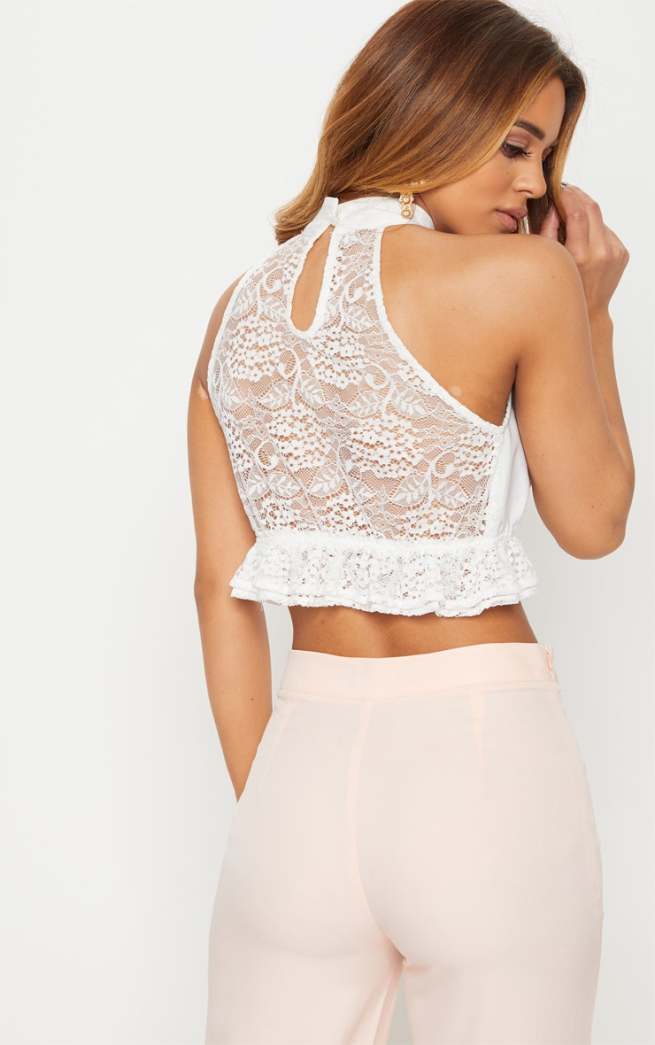 Petite White High Neck Lace Crop Top 2