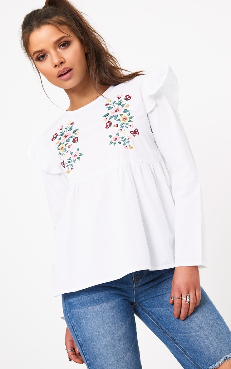 White Embroidered Frill Shoulder Shirt  1