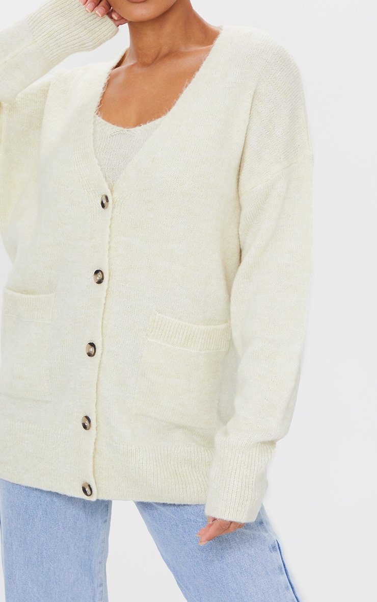 Cream Cosy Knitted Slouchy Button Down Cardigan 4