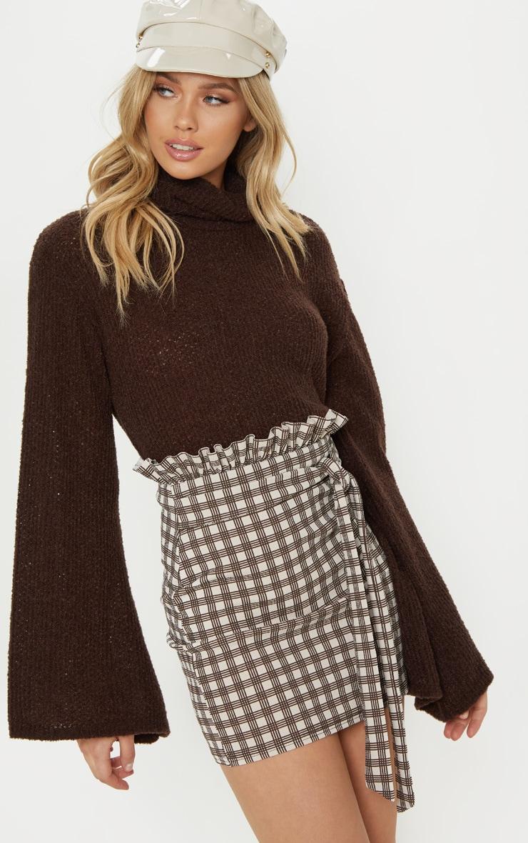 Stone Check Paperbag Mini Skirt 1