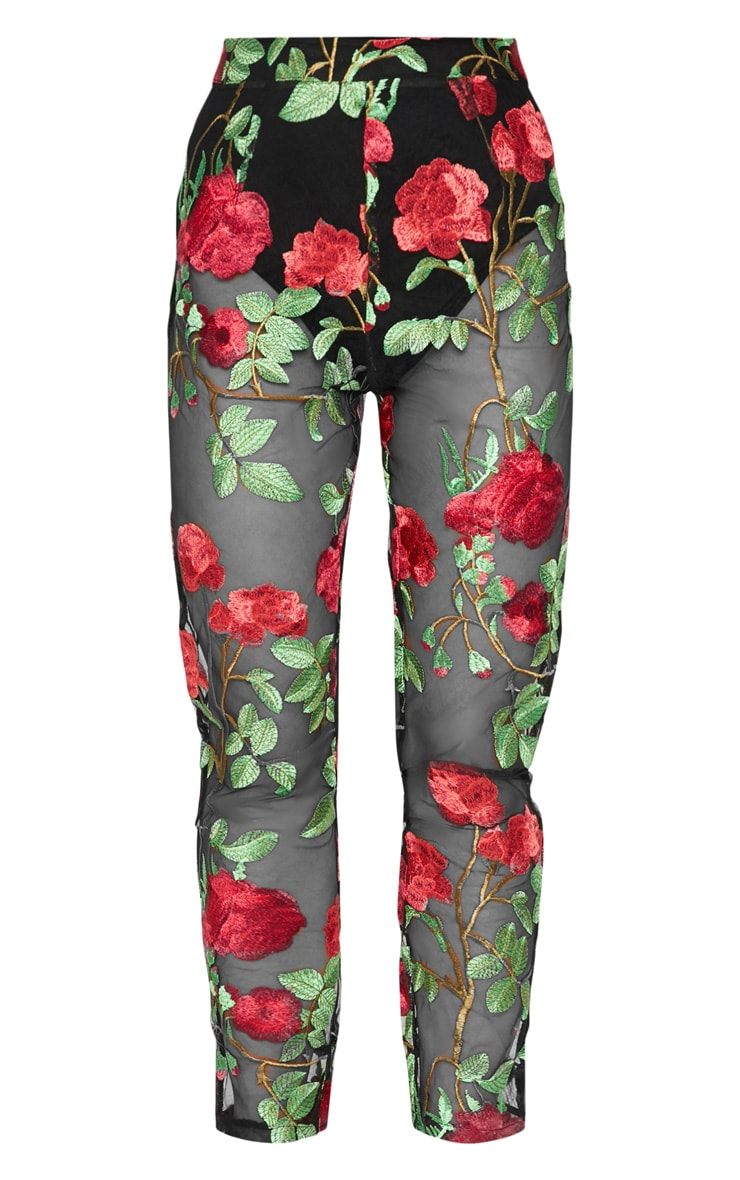 Black Sheer Embroidered Skinny Trouser 3