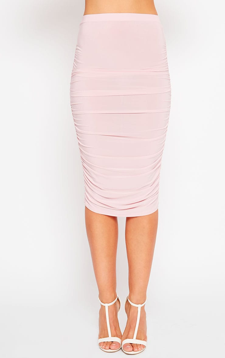 Saylor Baby Pink Slinky Gathered Midi Skirt 2
