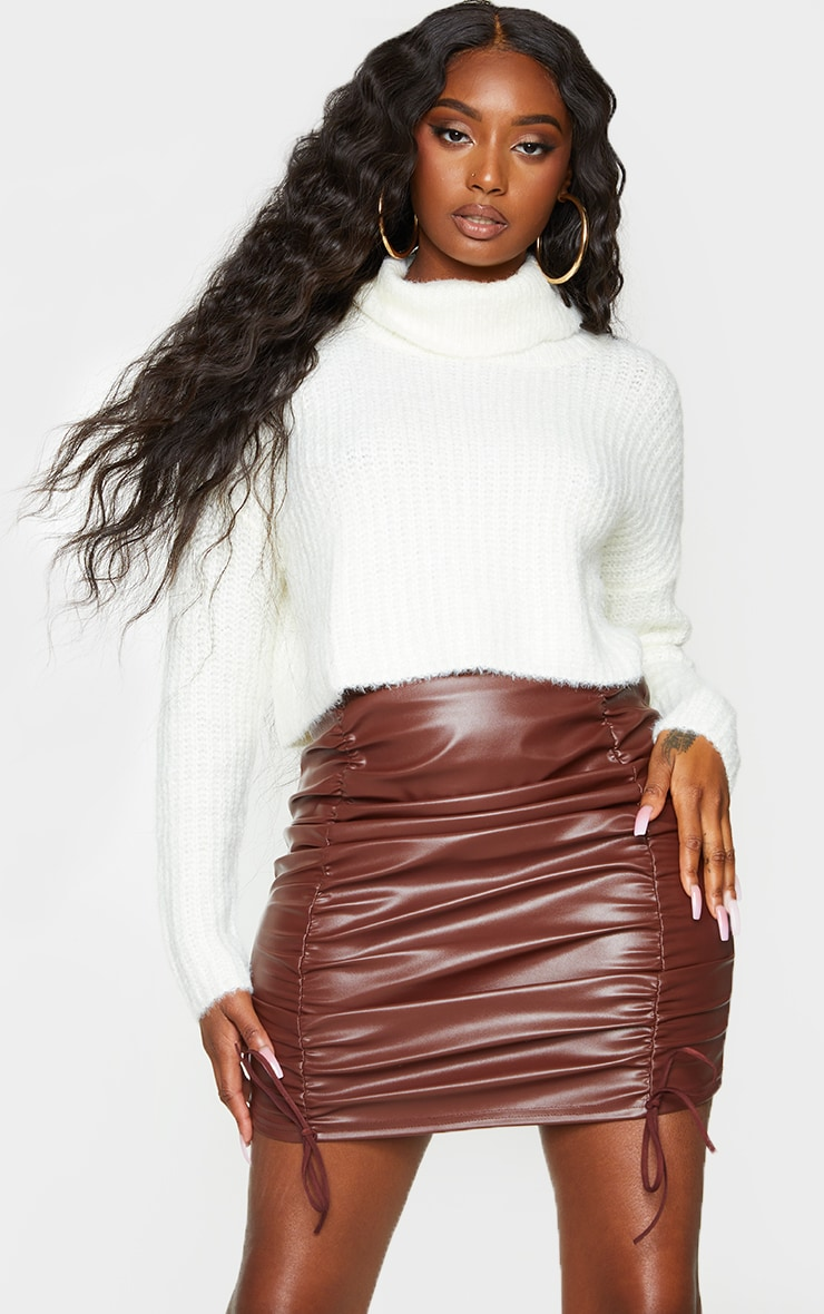 Chocolate Faux Leather Ruched Tie Detail Mini Skirt 4