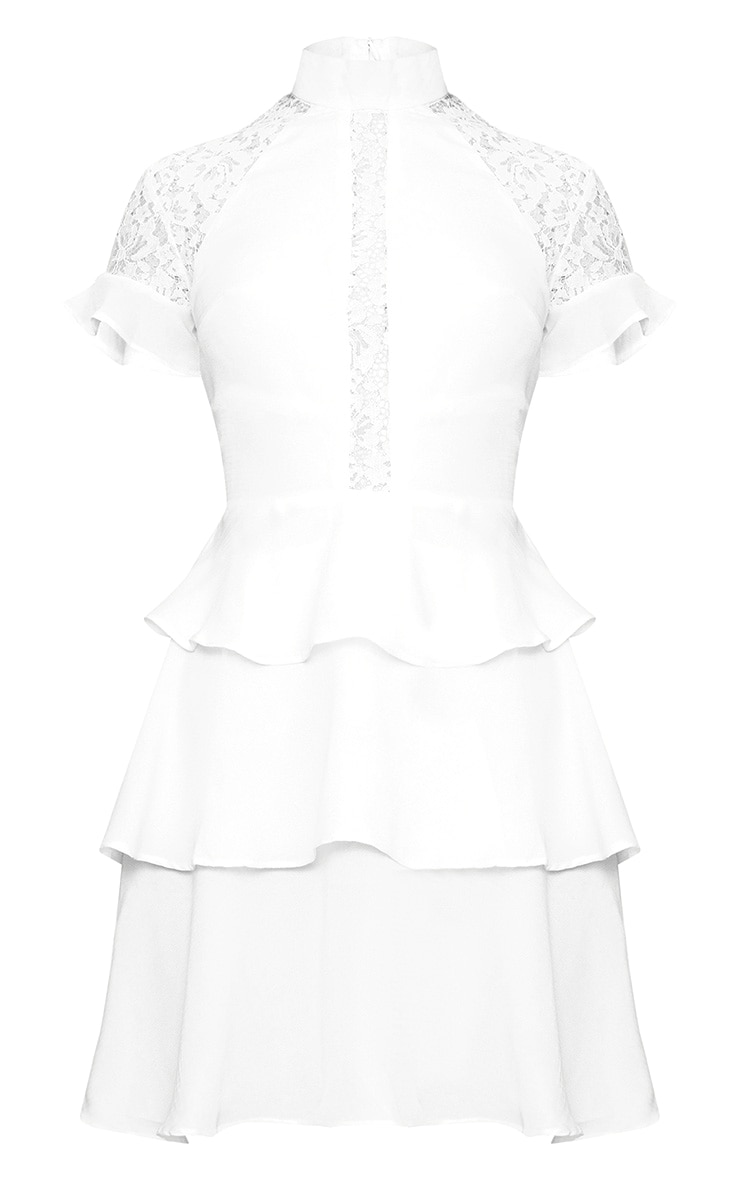 White High Neck Ruffle Detail Bodycon Dress 3