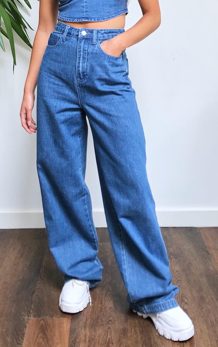 Dark Blue Wash Wide Leg Jeans 2