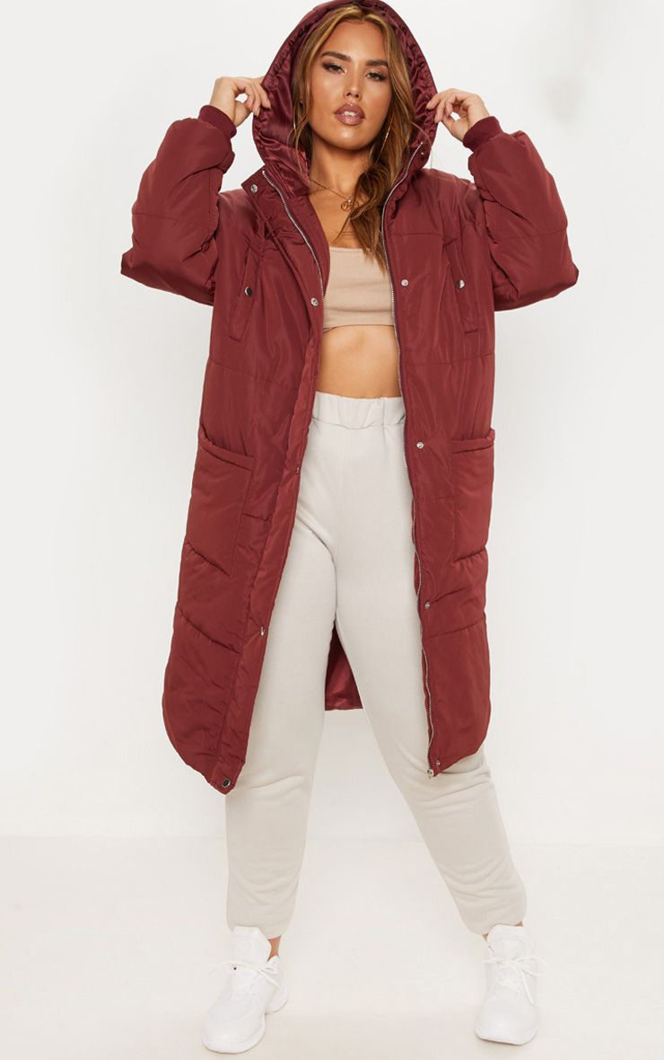 Plus Burgundy Longline Puffer Coat 1