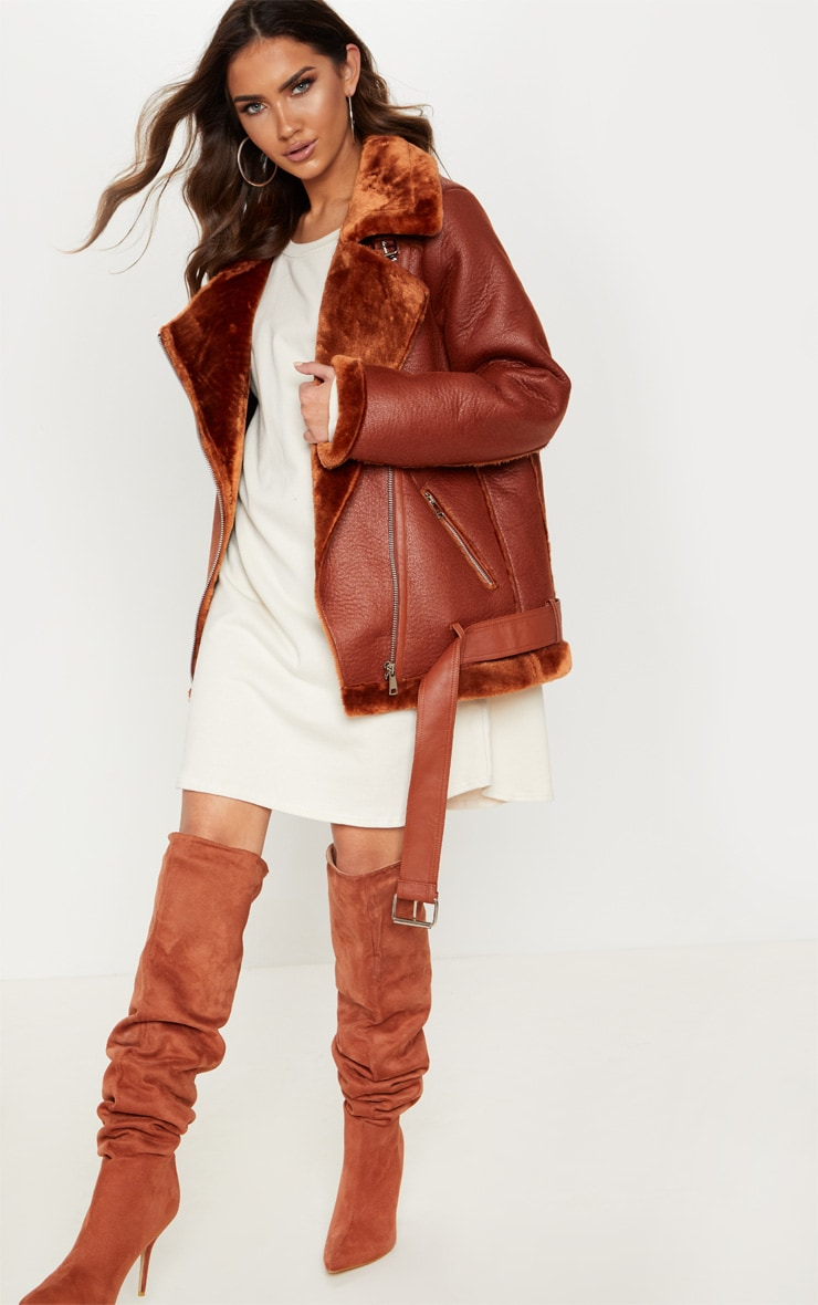 Tan  PU Oversized Aviator Jacket  4