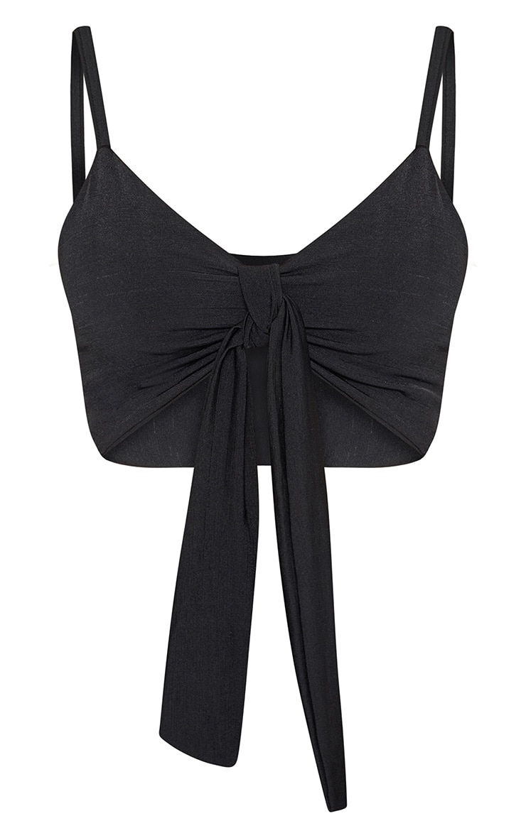 Shape Black Slinky Tie Front Crop Top 3