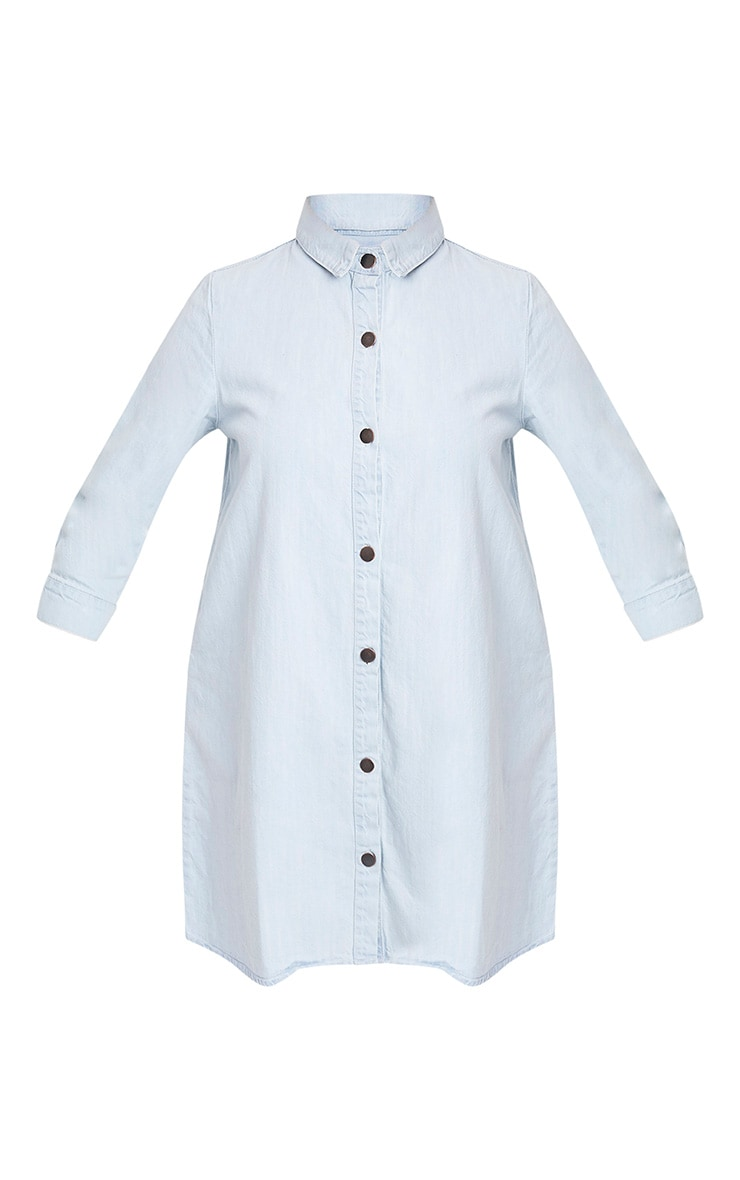 Marriet Super Light Wash Button Through Denim Shirt Dress 3