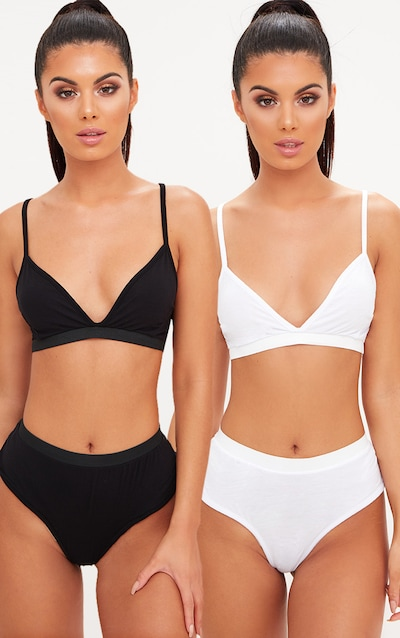 2 Pack Black & White Basic Jersey Bra And Knickers Set