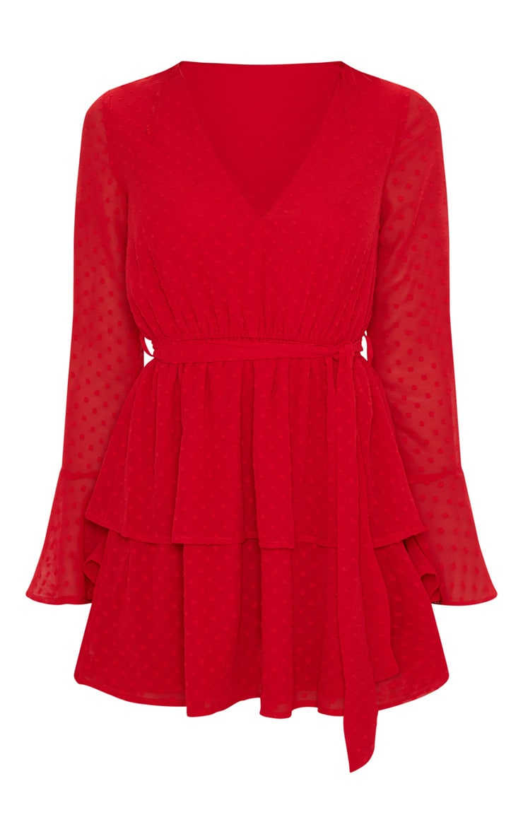 Red Dobby Polka Dot V Neck Frill Skater Dress 3