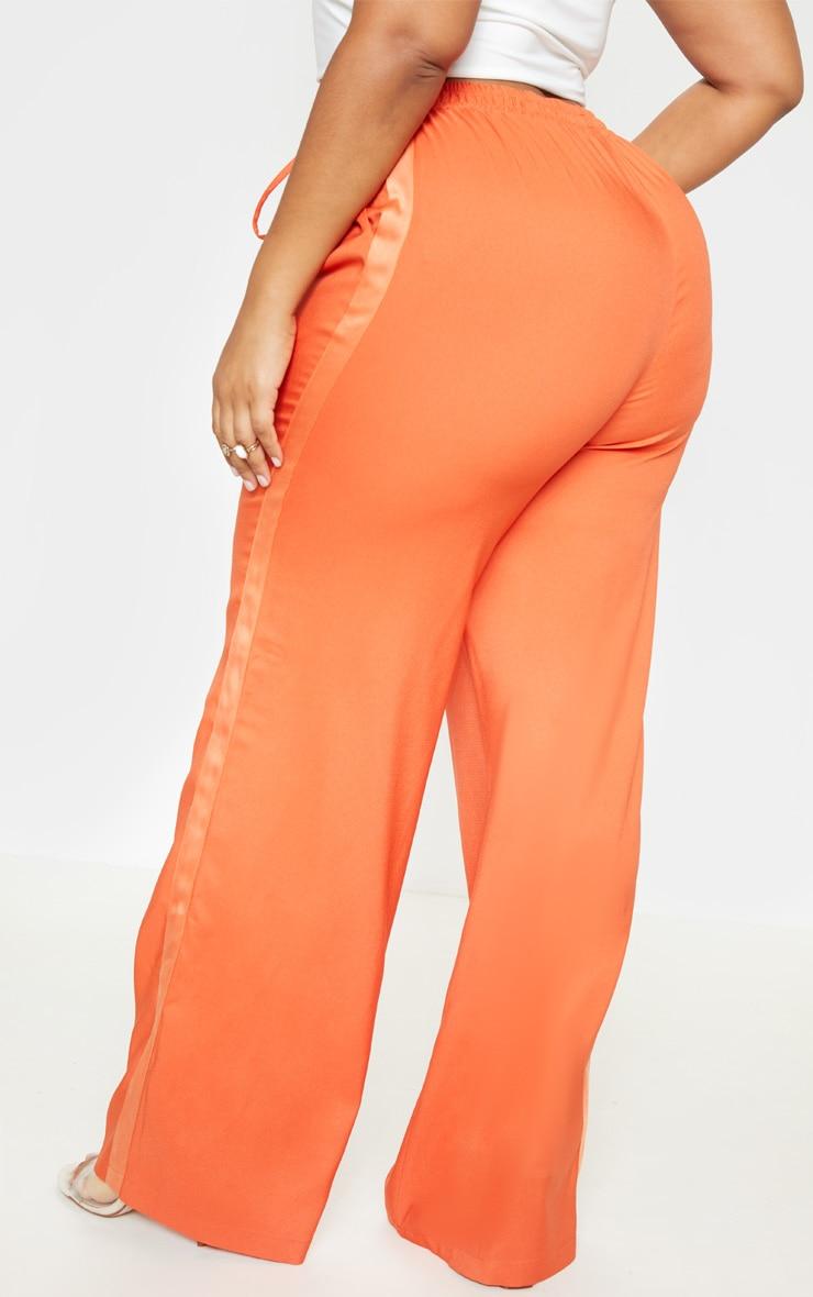 Plus Orange Drawstring Waist Satin Stripe Pants  4