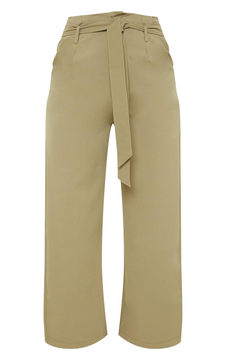 Tall Olive Green Woven Belt Detail Wide Leg Culotte 3