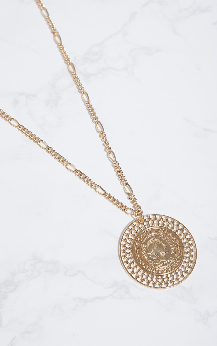Gold Large Coin Medallion Necklace 3