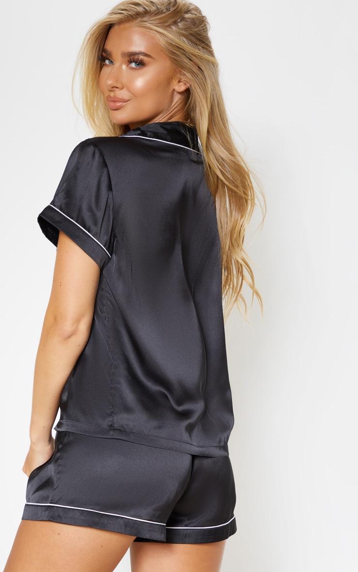 PRETTYLITTLETHING Black Satin Pocket Pyjama Set 2