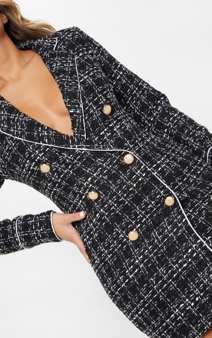 Black Boucle Gold Button Blazer Dress 5