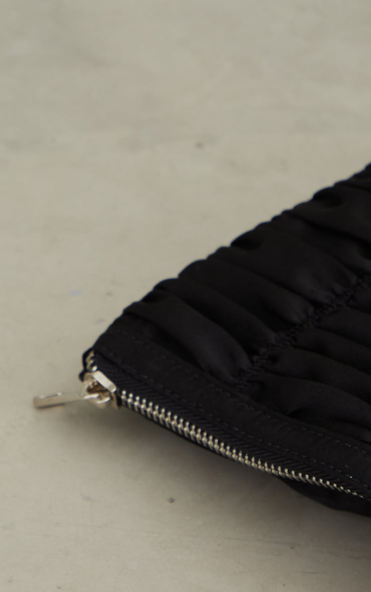 Black Satin Oversized Ruched Clutch 3