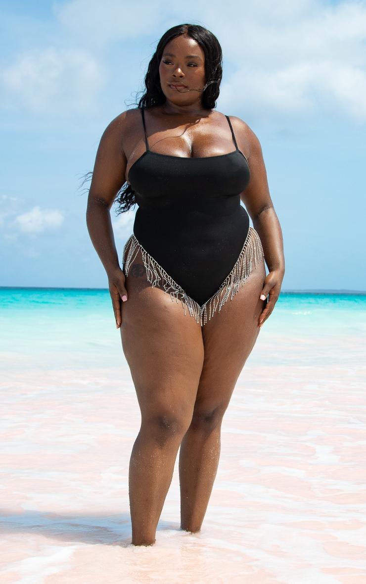 Plus Black Diamante Trim Swimsuit 3