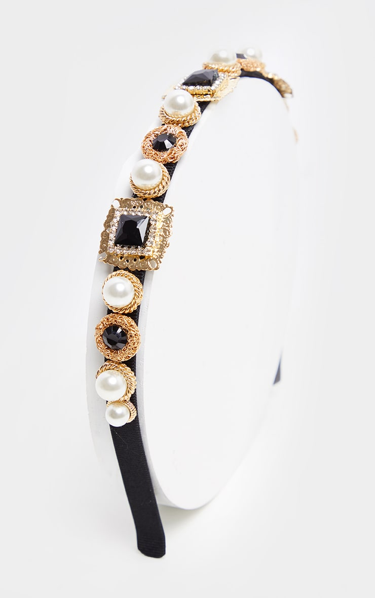 Black Crystal And Pearl Headband 2