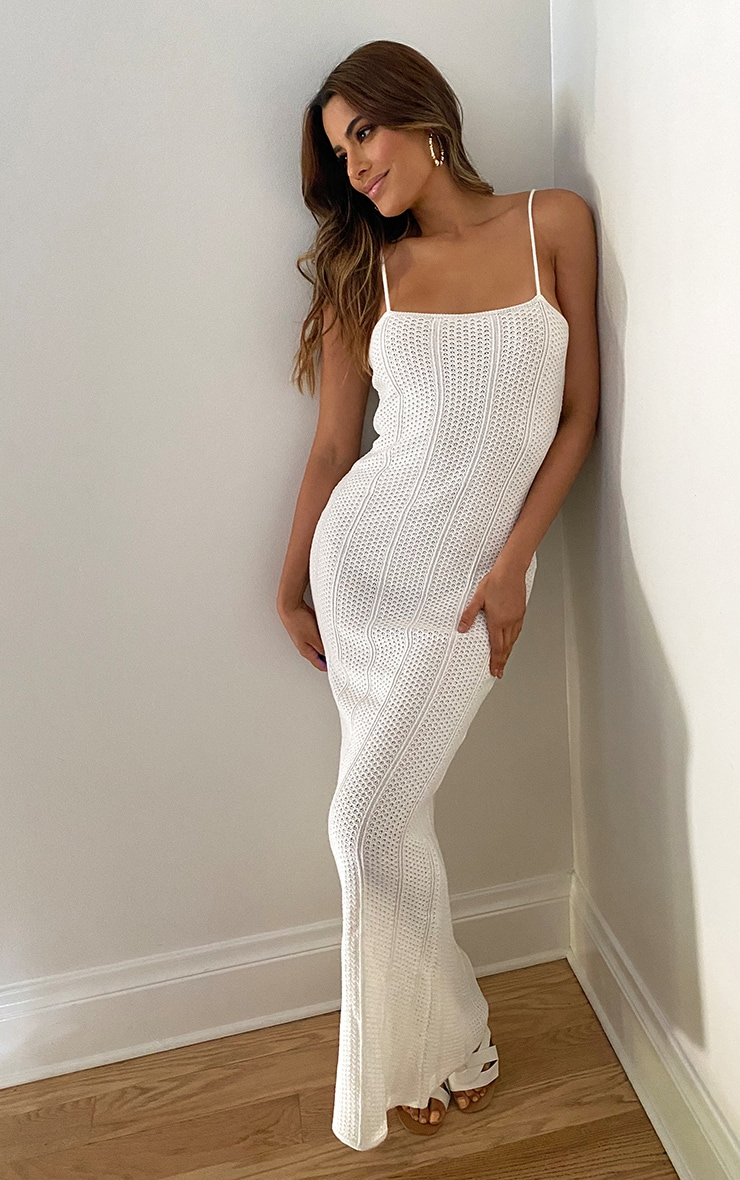 Tall Cream Knitted Maxi Dress 3