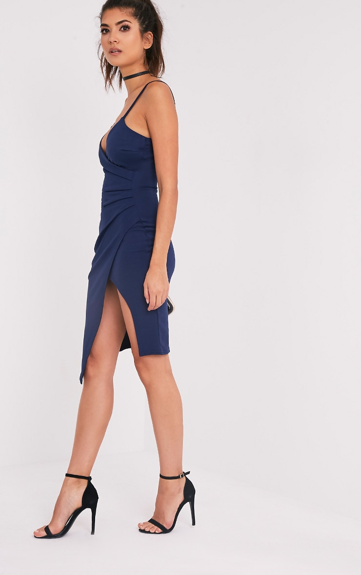 Lauriell Navy Wrap Front Crepe Midi Dress 4
