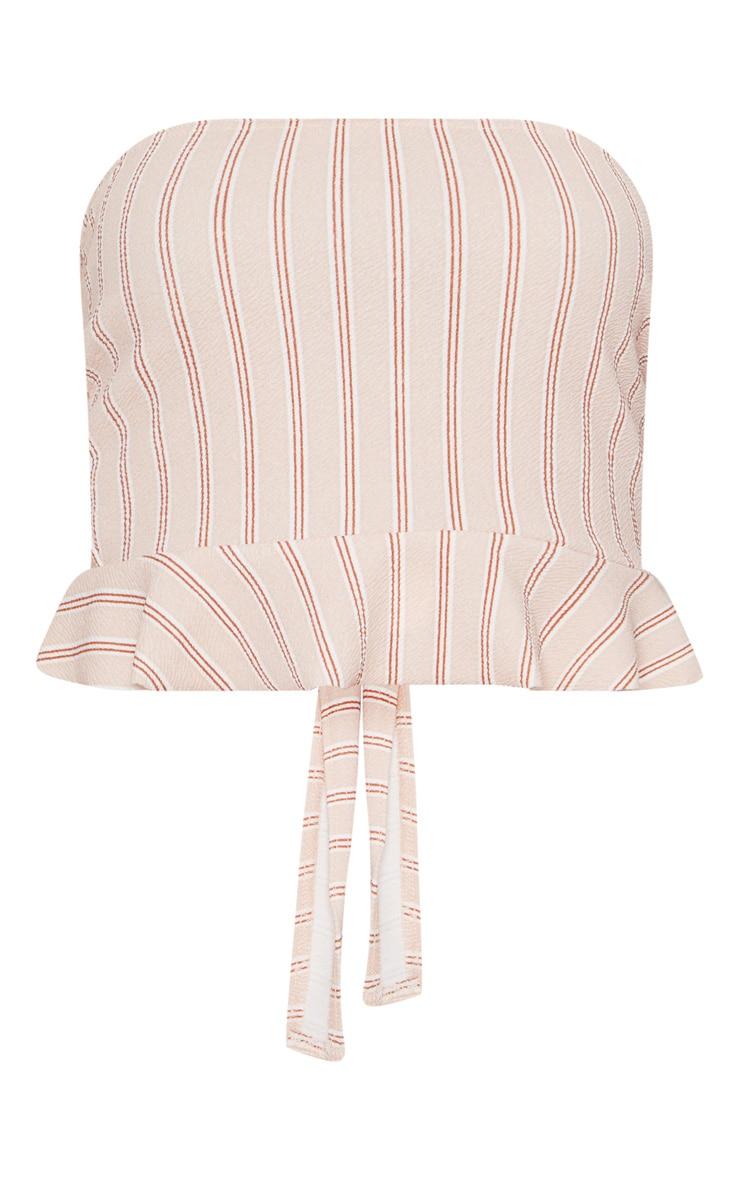Nude Tie Back Frill Hem Bandeau Crop Top  3