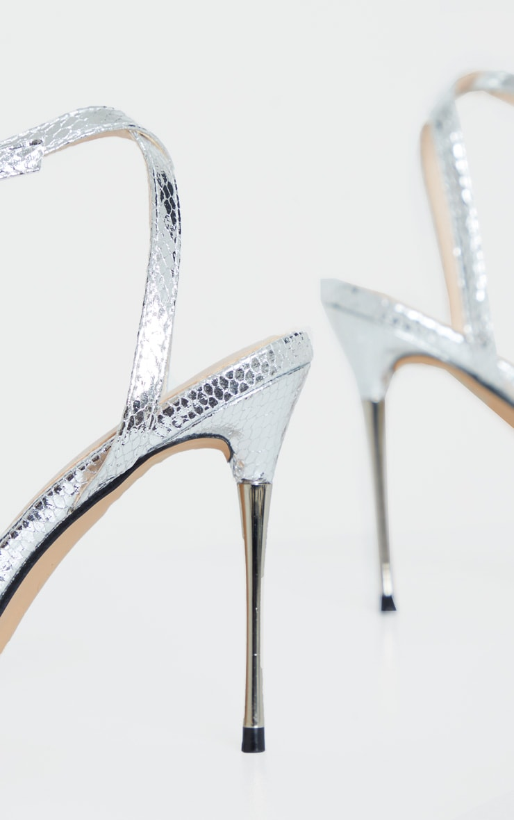 Silver Snake Pin Heel Pointed Toe Barely There Strappy Sandal 3