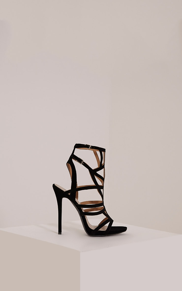 Sami Black Faux Suede Cut Out Heeled Sandals 3