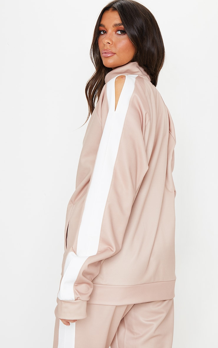 Taupe Cut Out Shoulder Detail Stripe Side Zip Through Sweat Top 2