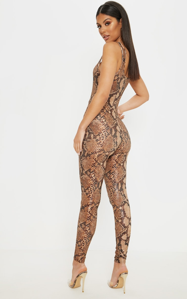Brown Snake Print Glitter Square Neck Jumpsuit 2