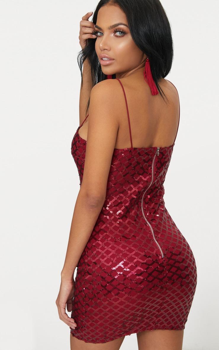 Burgundy Strappy Sequin Straight Neck Bodycon Dress 2