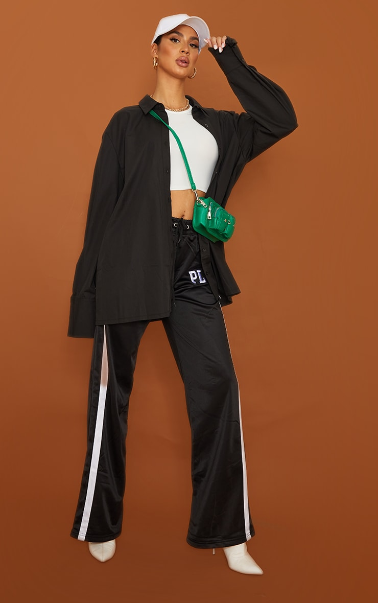 Tall  Black Oversized Cuff Poplin Shirt 3