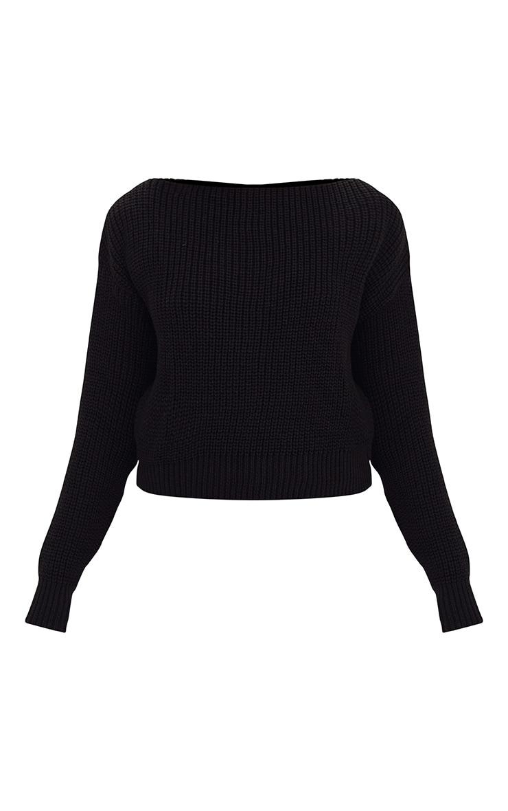 Christiana pull court noir tricoté mixte à col bateau 3