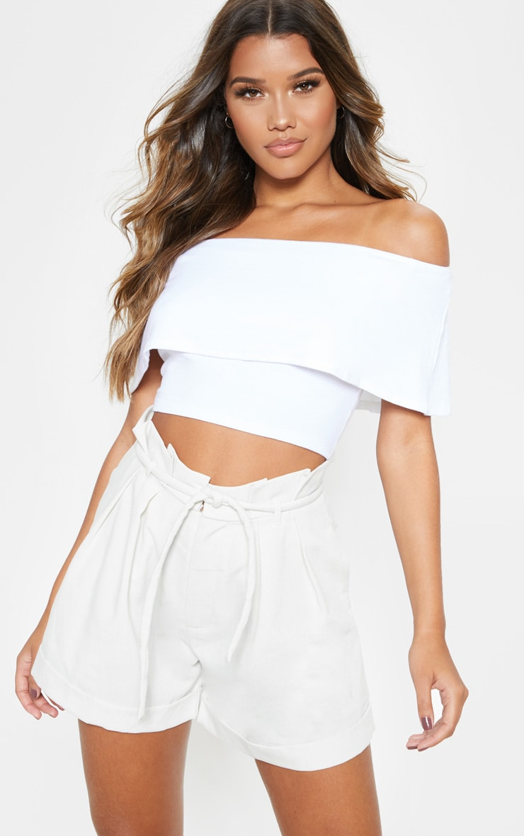 White Rib Bardot Frill Crop Top 1