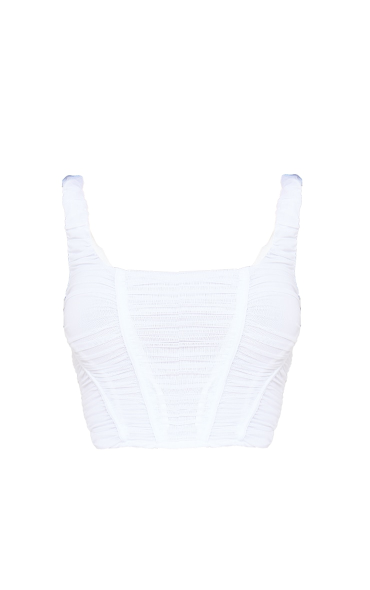 White Mesh Ruched Boned Cropped Corset 5