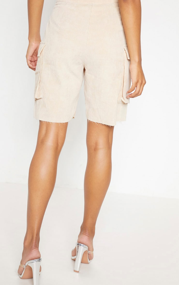 Cream Cord Boyfriend Fit Shorts 4