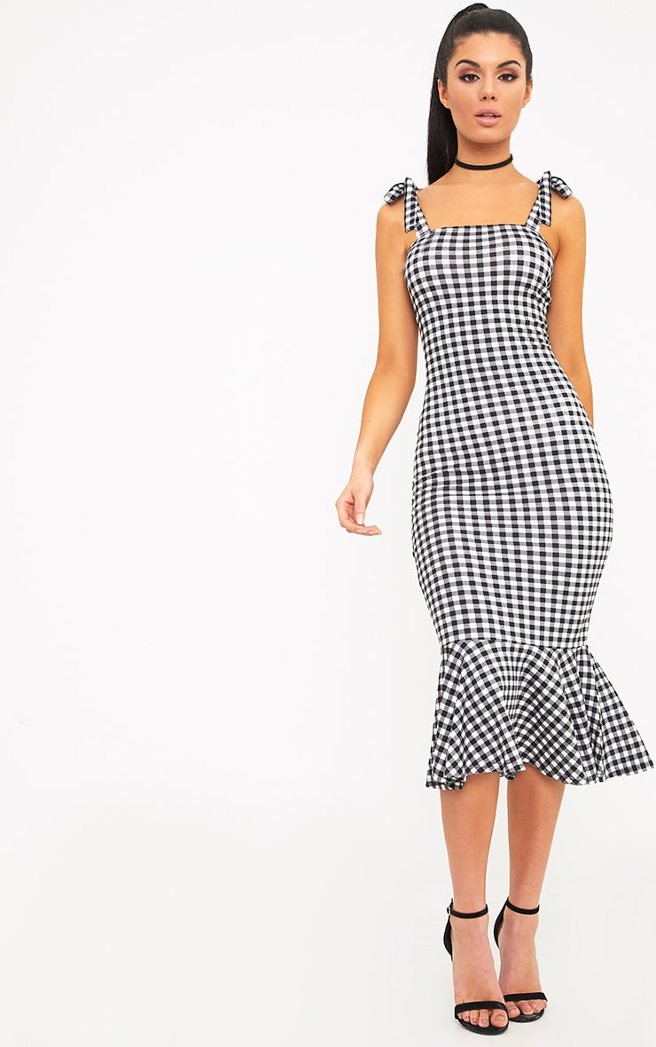 Caelyn Black Gingham Shoulder Tie Frill Hem Dress 1