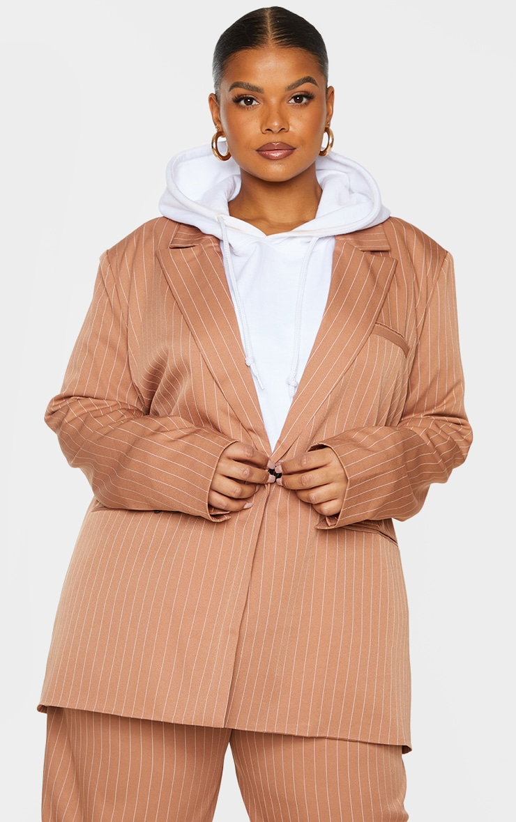 Plus Brown Pinstripe Oversized Dad Blazer 1