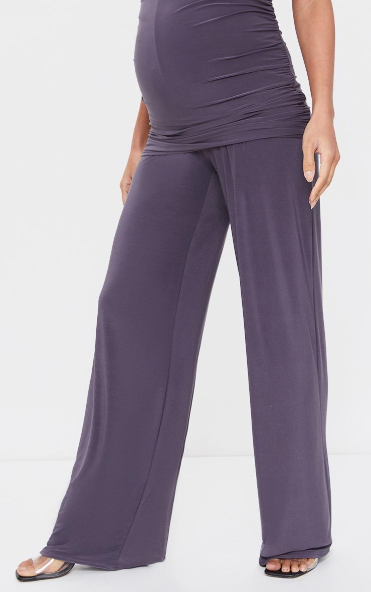 Maternity Slate Grey Slinky Wide Leg Pants 2