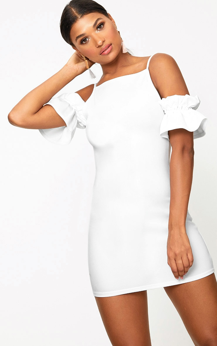 White Ruffle Sleeve Detail Cold Shoulder Bodycon Dress 1