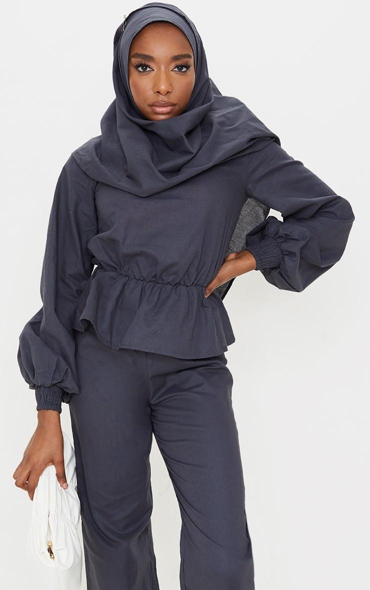 Navy Woven Peplum Wrap Hijab Blouse 1