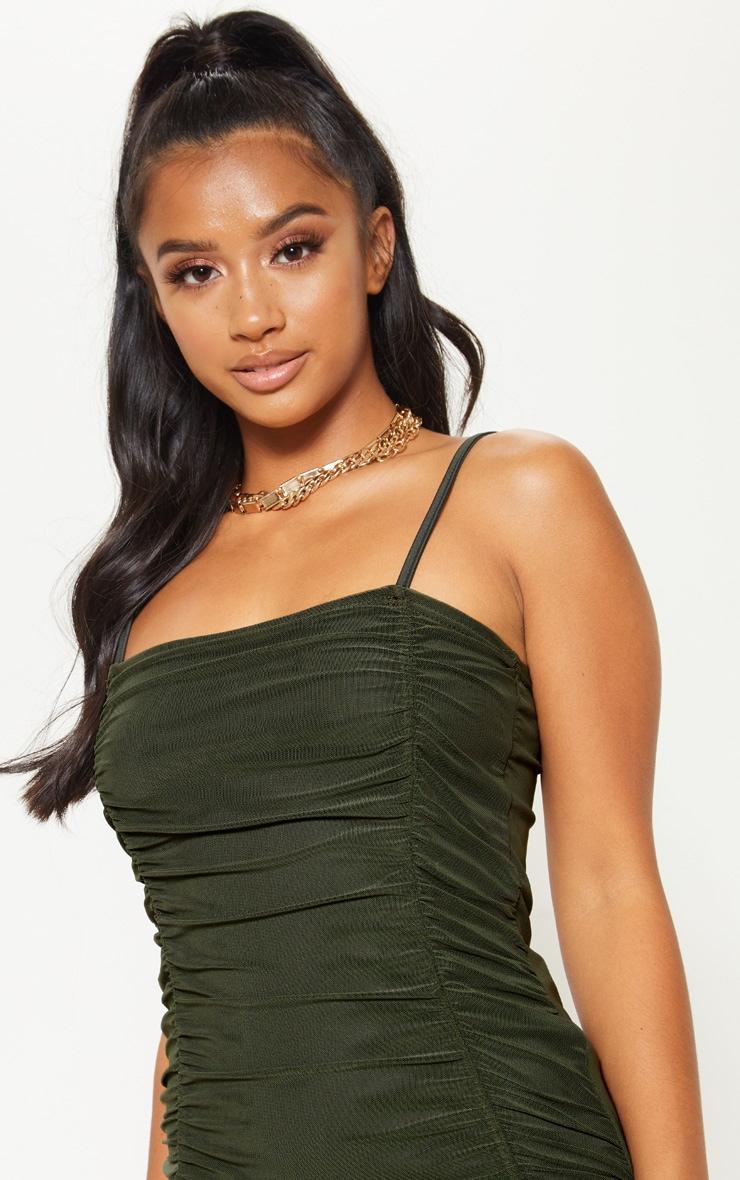 Petite Olive Khaki Strappy Ruched Front Mini Dress 5