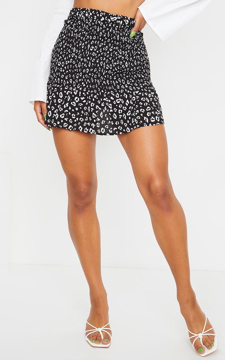 Black Leopard Print Shirred Frill Hem Skirt 2