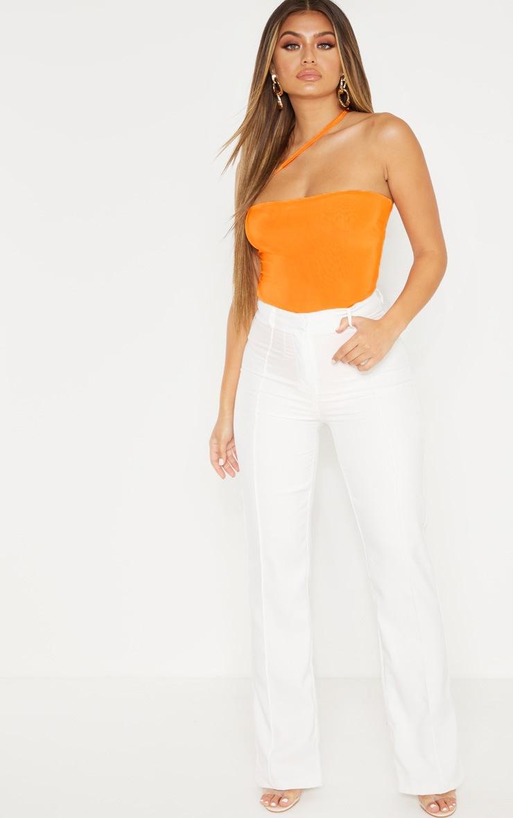 Bright Orange Asymmetric Strap Bandeau Slinky Bodysuit 5