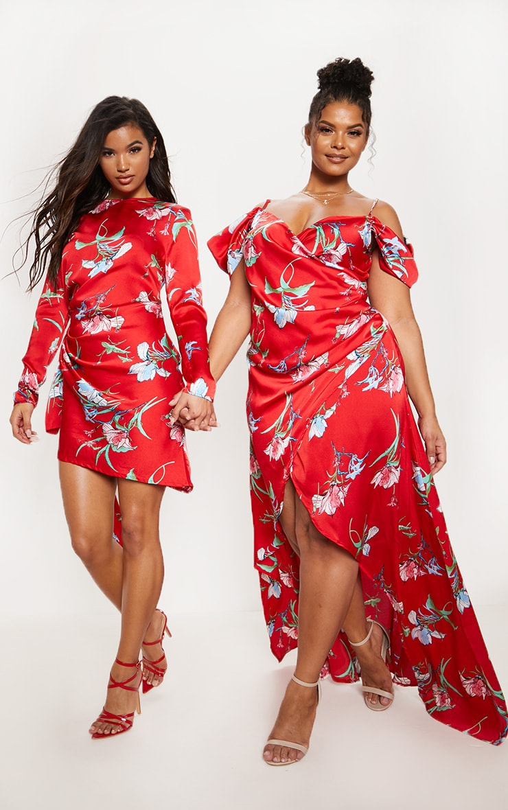 Red Floral Print Drape Detail Shift Dress 7