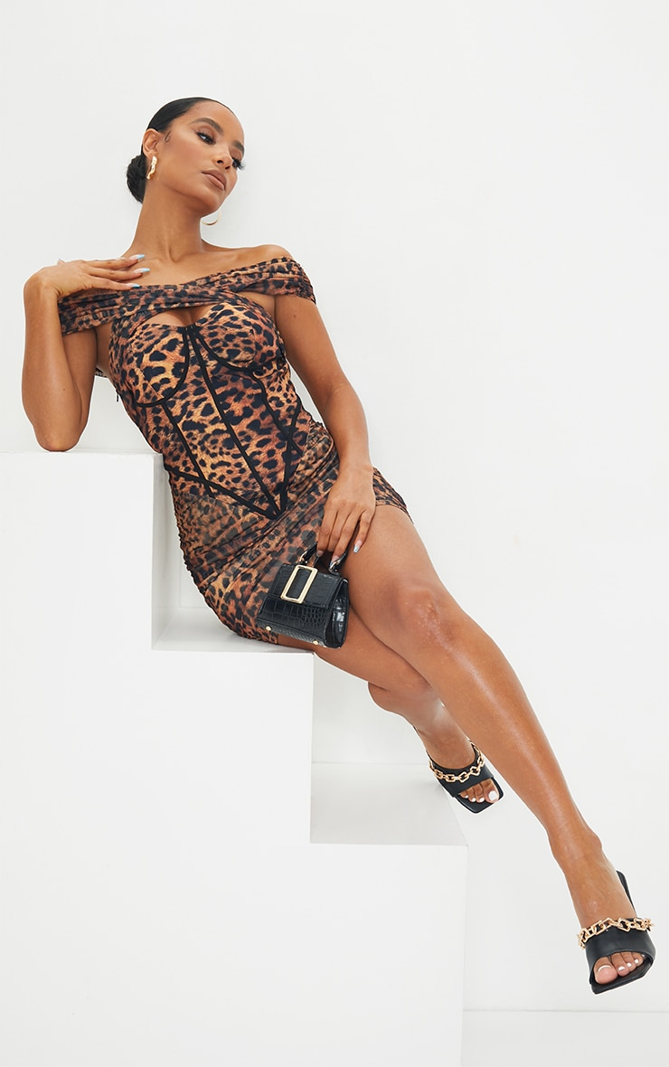 Brown Leopard Print Mesh Binding Detail Bardot Bodycon Dress 3