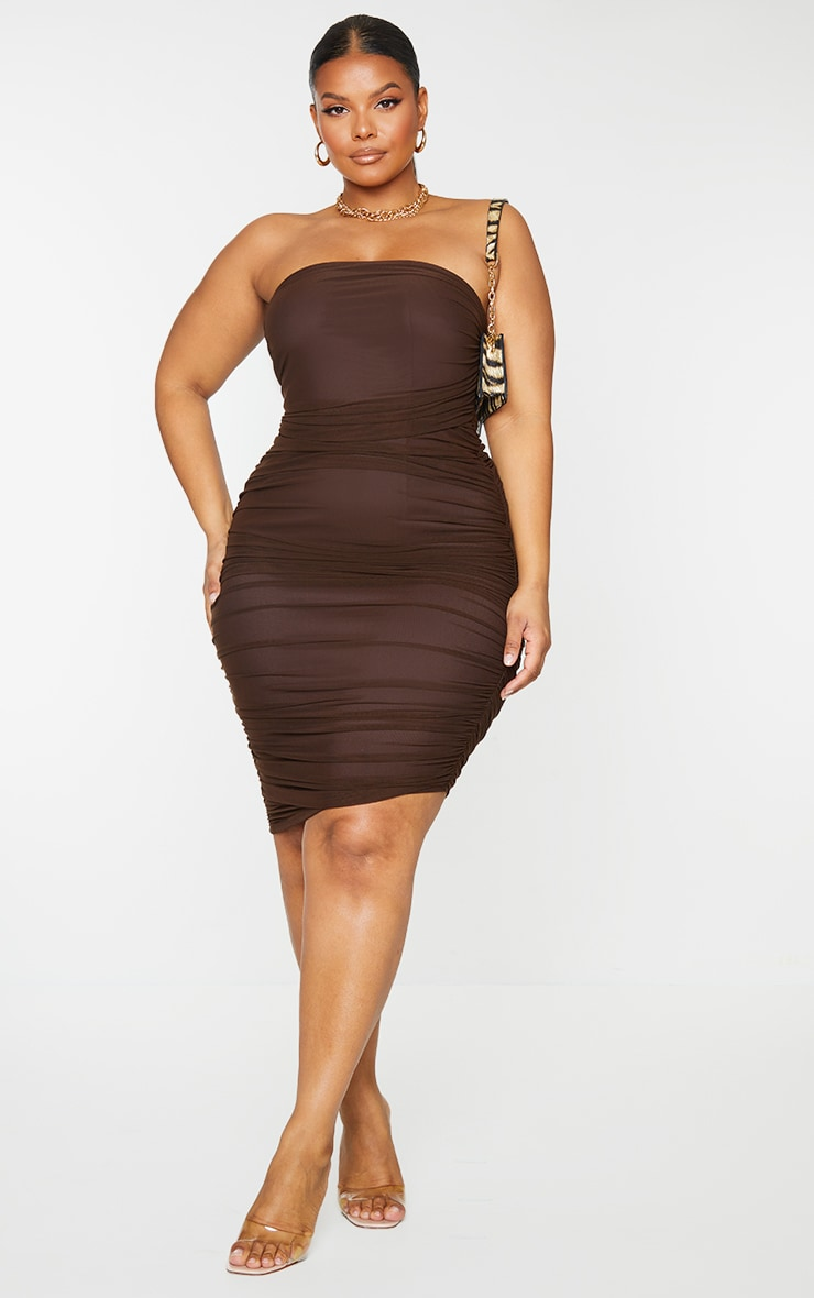 Plus Chocolate Layered Mesh Ruched Strapless Bodycon Dress 1