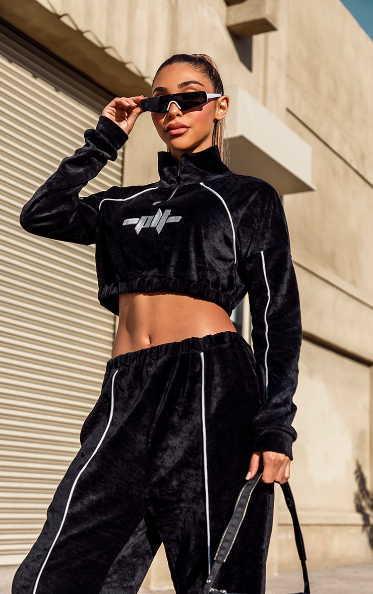 Black Contrast Velour Funnel Neck Slogan Stripe Cropped Sweat